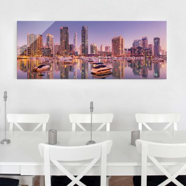 Quadro in vetro - Dubai Skyline and Marina - Panoramico