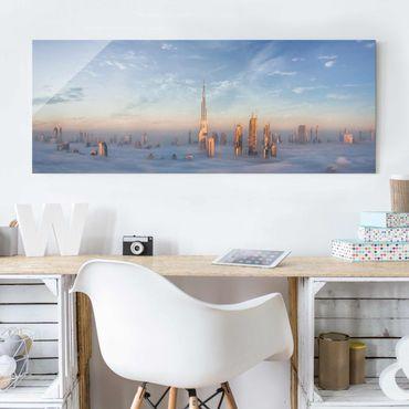 Quadro in vetro - Dubai Sopra Le Nuvole - Panoramico
