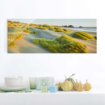 Quadro in vetro - Dunes and grasses at the sea - Panoramico