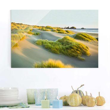 Quadro su vetro - Dunes and grasses at the sea - Orizzontale 3:2