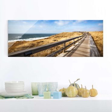 Quadro in vetro - Pathway Through the dunes at the North Sea at Sylt - Panoramico