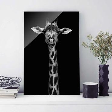 Quadro in vetro - Scuro Giraffe Portrait - Verticale 2:3