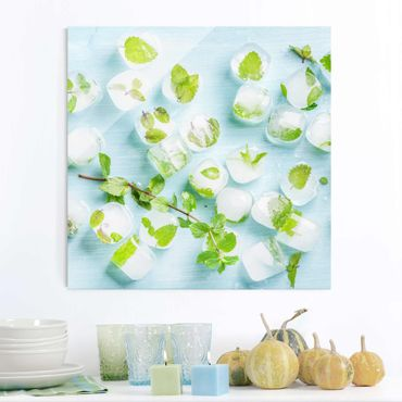 Quadro in vetro - Ice Cubes With Mint Leaves - Quadrato 1:1