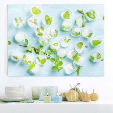 Quadro in vetro - Ice Cubes With Mint Leaves - Orizzontale 4:3