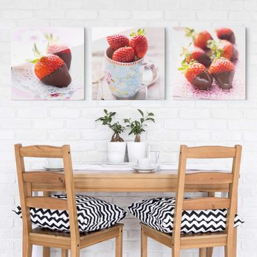 Quadro in vetro - Strawberries In Chocolate Vintage - 3 parti