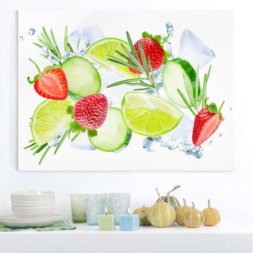 Quadro in vetro - Strawberries Lime Ice Cubes Splash - Large 3:4
