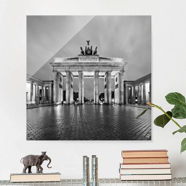 Quadro in vetro Berlino - Illuminated Brandenburg Gate II - Quadrato 1:1