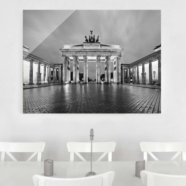 Quadro su vetro Berlin - Illuminated Brandenburg Gate II - Orizzontale 4:3
