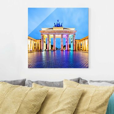 Quadro in vetro Berlino - Illuminated Brandenburg Gate - Quadrato 1:1