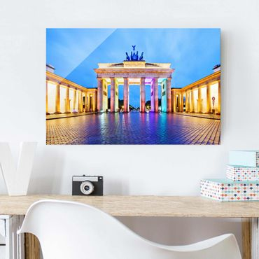 Quadro su vetro Berlin - Illuminated Brandenburg Gate - Orizzontale 3:2