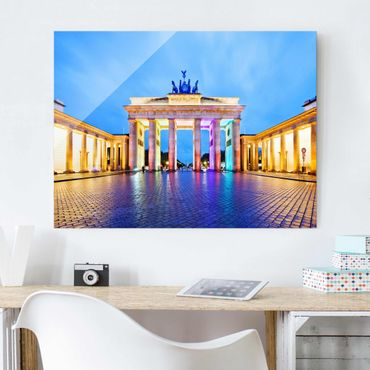 Quadro su vetro Berlin - Illuminated Brandenburg Gate - Orizzontale 4:3