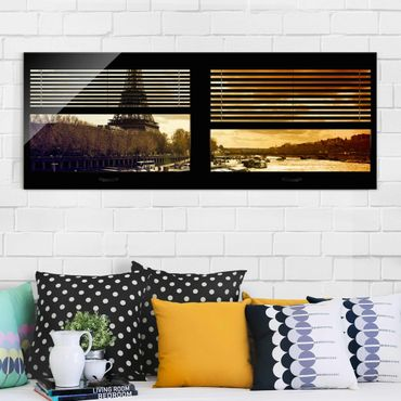 Quadro in vetro - Window blinds views - Paris Eiffel Tower sunset - Panoramico
