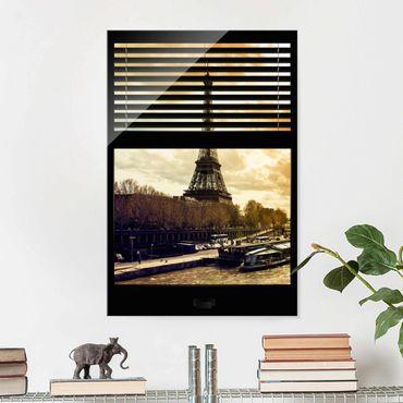 Quadro in vetro - Window blinds views - Paris Eiffel Tower sunset - Verticale 2:3