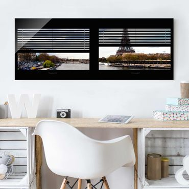 Quadro in vetro - Window View Blinds - Seine and Eiffel Tower - Panoramico