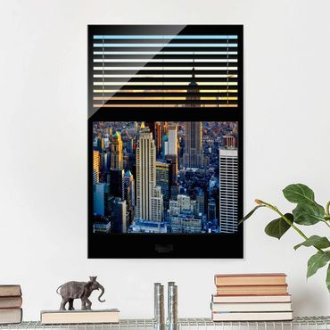 Quadro in vetro - Window blinds views - Sunrise New York - Verticale 2:3