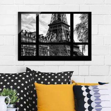Quadro in vetro - Window view Paris - Near the Eiffel Tower - Quadrato 1:1