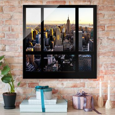 Quadro in vetro - Window view at night over New York - Quadrato 1:1