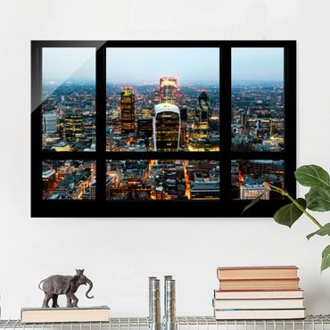 Quadro su vetro - Window overlooking illuminated skyline of London - Orizzontale 3:2