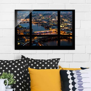 Quadro su vetro - Window view of London's skyline with bridge - Orizzontale 3:2
