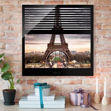 Quadro in vetro - Window blinds view - Eiffel Tower Paris - Quadrato 1:1