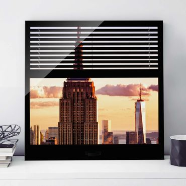 Quadro in vetro - Window blinds views - Empire State Building New York - Quadrato 1:1