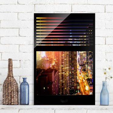 Quadro in vetro - Window blinds views - Manhattan at night - Verticale 2:3