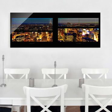 Quadro in vetro - Window blinds views - New York at night - Panoramico