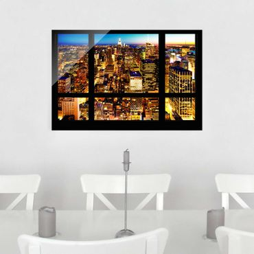 Quadro su vetro - Window overlooking New York at night - Orizzontale 3:2