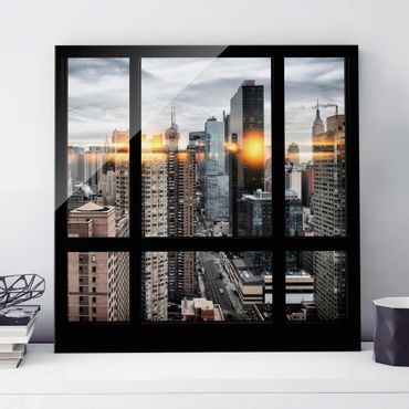 Quadro in vetro - Window overlooking New York with solar reflection - Quadrato 1:1