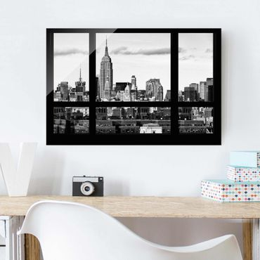 Quadro su vetro - Window overlooking New York skyline black and white - Orizzontale 3:2