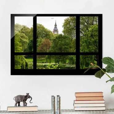 Quadro su vetro - Window overlooking St. James Park on Big Ben - Orizzontale 3:2