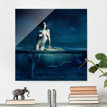 Quadro in vetro - Nude with fish - Quadrato 1:1