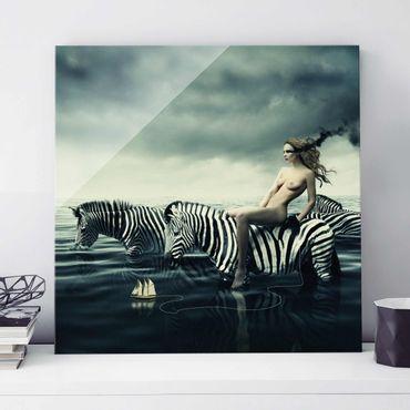 Quadro in vetro - Nude with Zebras - Quadrato 1:1