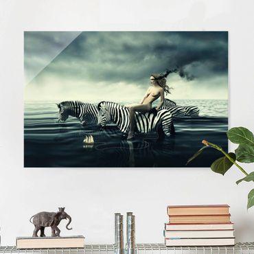 Quadro su vetro - Nude Posing With Zebras - Orizzontale 3:2