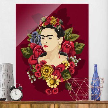 Quadro in vetro - Frida Kahlo - Roses - Verticale 3:4