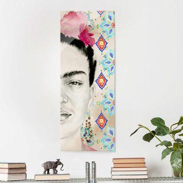Quadro in vetro - Frida Con Fiori Rosa I - Pannello