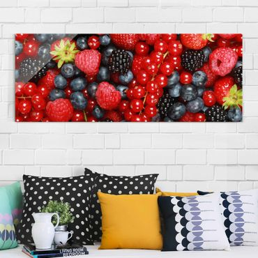 Quadro in vetro - Fruity Berries - Panoramico