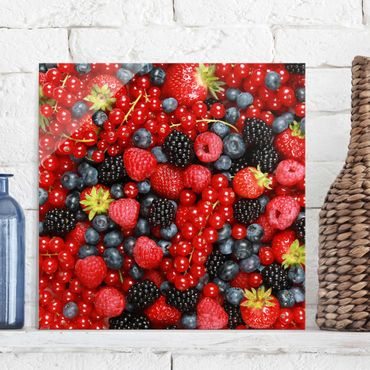 Quadro in vetro - Fruity Berries - Quadrato 1:1