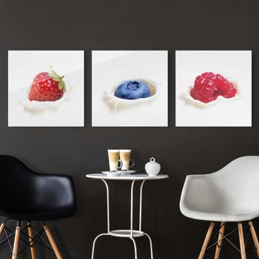 Quadro in vetro - Fruit Milk Splash - 3 parti