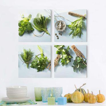 Quadro in vetro - Bundled Herbs - 4 parti
