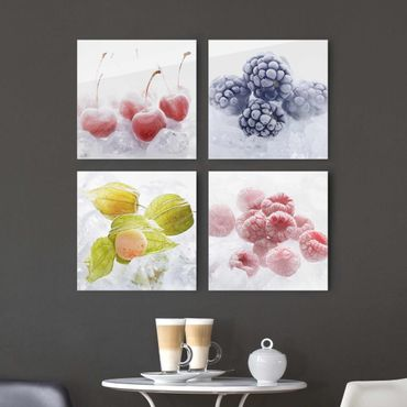 Quadro in vetro - Frozen Fruits - 4 parti