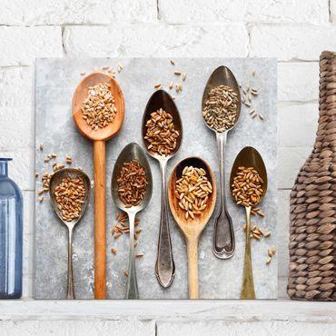 Quadro in vetro - Cereal Grains Spoon - Quadrato 1:1