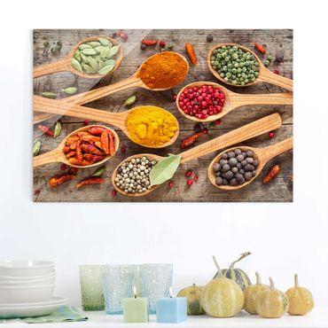 Quadro in vetro - Spices On Wooden Spoon - Orizzontale 3:2