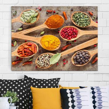 Quadro in vetro - Spices On Wooden Spoon - Orizzontale 4:3