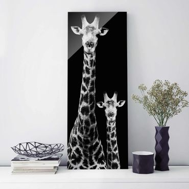 Quadro in vetro - Giraffe Duo black-white - Pannello