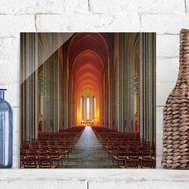 Quadro in vetro - Chiesa di Grundtvig a Copenhagen - Quadrato 1:1