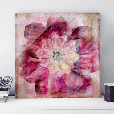 Quadro in vetro - Grunge Flower - Quadrato 1:1