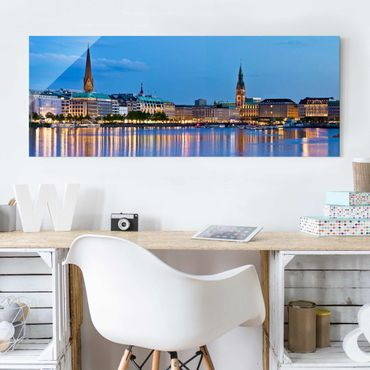 Quadro in vetro - Hamburg Skyline - Panoramico