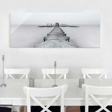 Quadro in vetro - Molo in legno Bianco e nero - Panoramico