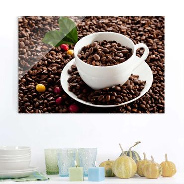 Quadro in vetro - Coffee Cup With Roasted Coffee Beans - Orizzontale 3:2